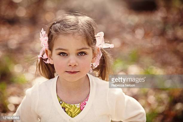 portrait of pretty little girl with pigtails - rebecca nelson stock pictures, royalty-free photos & images