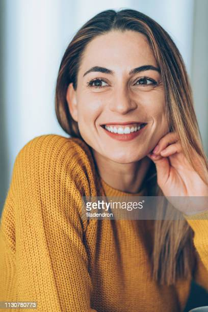 portrait of pretty woman - hand on chin stock pictures, royalty-free photos & images
