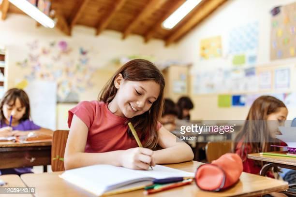 retrato de menina do ensino fundamental em sala de aula e uniforme escolar - education - fotografias e filmes do acervo