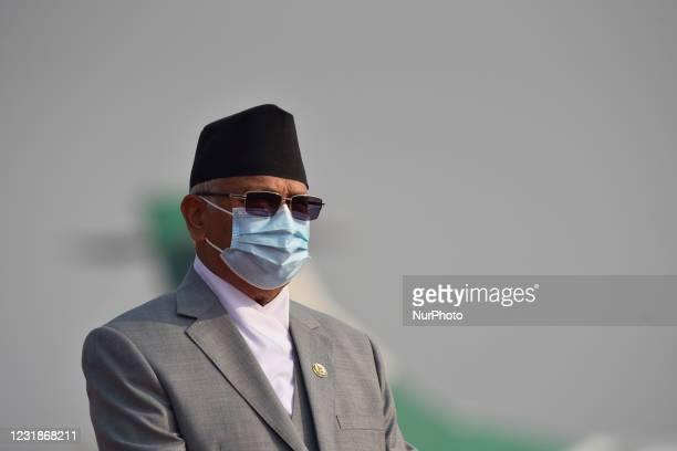 Portrait of Prime Minister KP Sharma Oli along with face mask arrive to farewell President Bidya Devi Bhandari for two-day official state visit to...