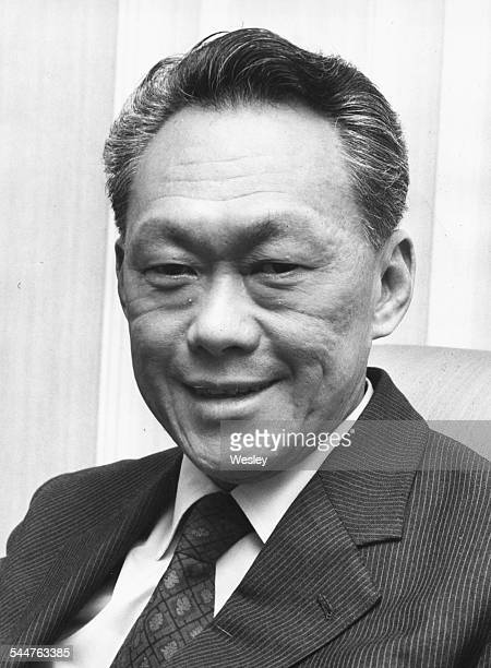 Portrait of Prime Minister of Singapore Lee Kuan Yew at Hyde Park Hotel on a visit to London August 1973