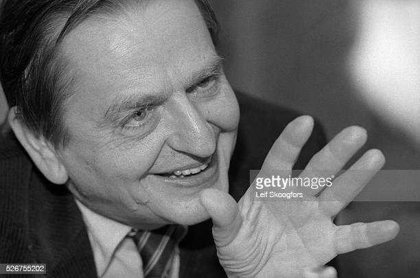 A portrait of Prime Minister Olof Palme as he explains his plan for an alliance of neutral countries to balance against the two superpowers Stockholm...