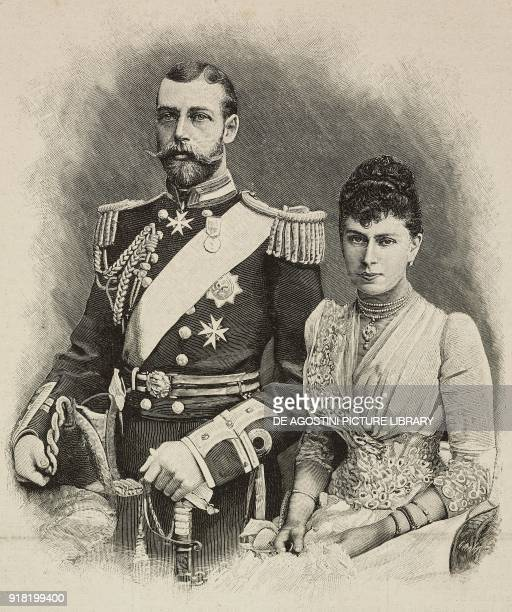 Portrait of Prince George duke of York and Princess Mary of Teck engraving by Cantagalli after a photo by Russell from L'Illustrazione Italiana Year...
