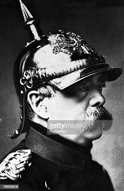 A portrait of Prince Otto von Bismarck also called 'The Iron Chancellor' the German statesman Prime Minister of Prussia Under his leadership Prussia...