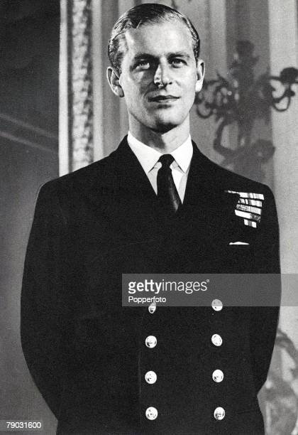 Portrait of Prince Philip Mountbatten posed in naval uniform circa 1947. Philip Mountbatten is currently engaged to Princess Elizabeth.