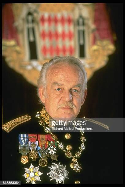 Portrait of Prince Rainier in full regalia.