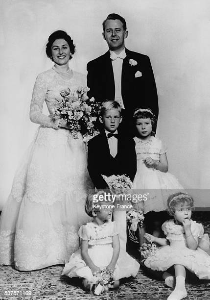 Portrait of Princess Astrid and Johan Martin Ferner after the wedding ceremony in a small Lutheran church, on January 14, 1961 in Oslo, Norway.