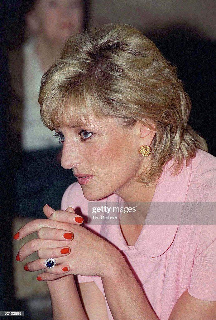 A Portrait Of Princess Diana Looking Pensive Whilst Visiting The British American Benevolent Society During Her Official Tour Of Argentina.