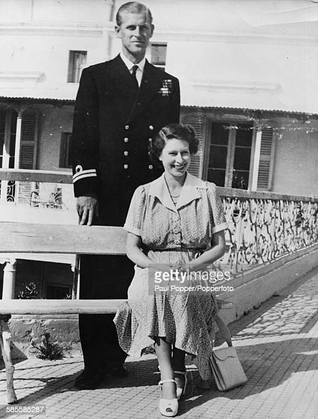 Portrait of Princess Elizabeth and Prince Philip the Duke of Edinburgh pictured together in the grounds of the Villa Guardamangia in Malta April 20th...