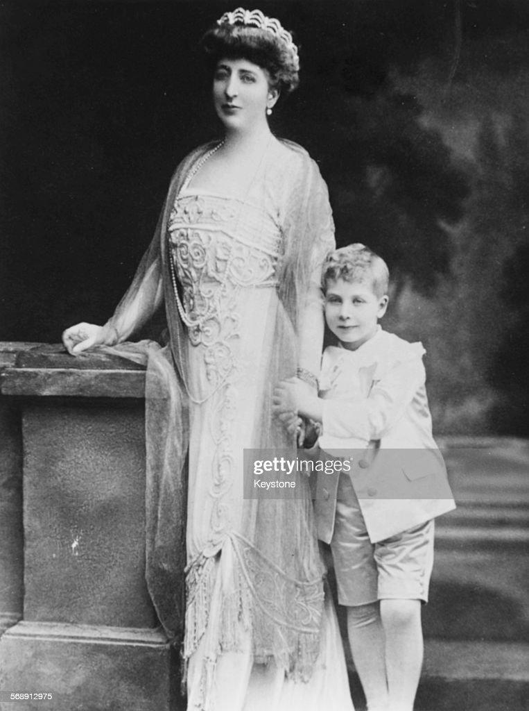 Portrait of Princess Henriette of Belgium, Duchess de Vendome, with her son Prince Charles, circa 1912.