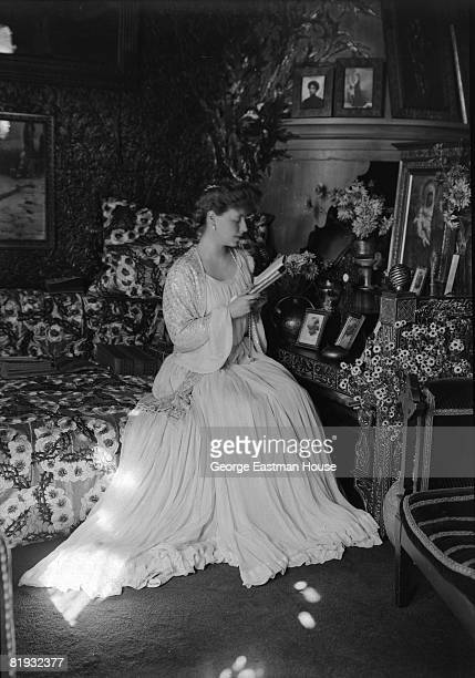 Portrait of Princess Marie of Edinburgh who became Queen Marie of Romania as queen consort of Ferdinand I of Romania, She is pictured reading a book...