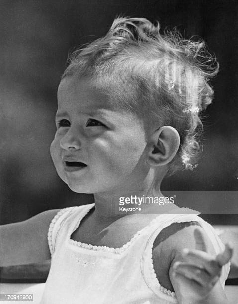 A portrait of Princess MarieEsmeralda of Belgium the day before her first birthday 29th September 1957