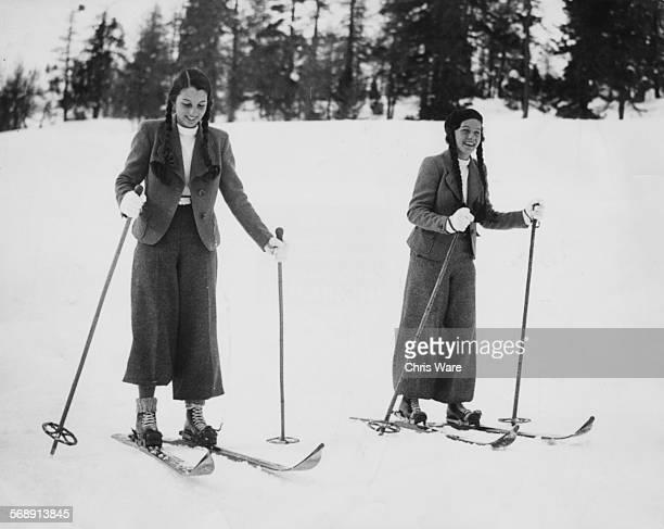 Portrait of Princesses Fawzia and Faeza singers of King Farouk of Egypt skiing during their first trip to Europe St Moritz circa 1935