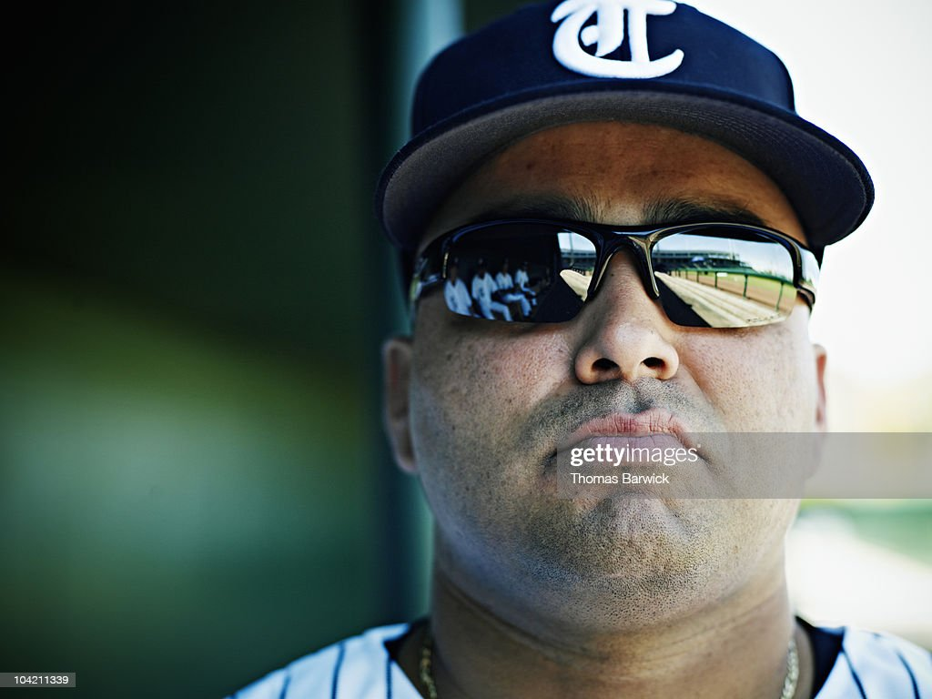 Portrait of professional baseball player : Stock Photo
