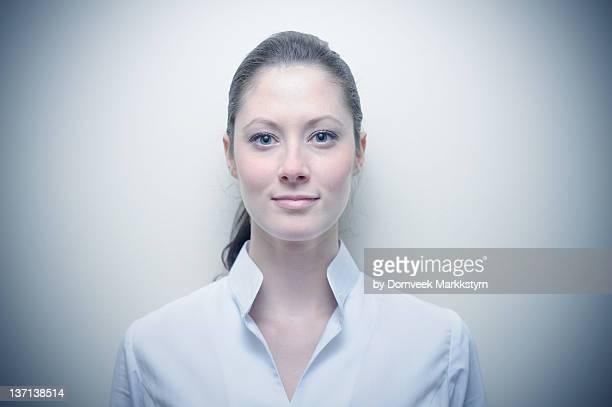 portrait of professional girl - 白いシャツ ストックフォトと画像