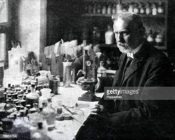 Portrait of Professor Paul Ehrlich 1854 1915 German bacteriologist noted for his work in finding a remedy for syphilis He was awarded the Nobel prize...