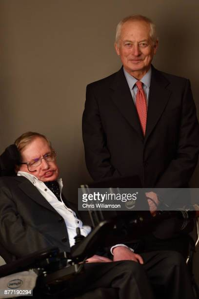 Portrait of Professor Stephen Hawking with the Prince of Liechtenstein HansAdam II at The Cambridge Union on November 21 2017 in Cambridge...