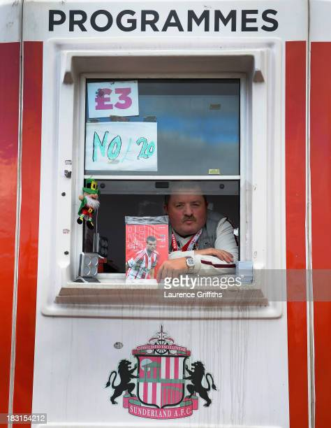 A portrait of programme seller during the Barclays Premier League match between Sunderland and Manchester United at Stadium of Light on October 5...
