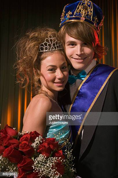 Portrait of prom king and queen