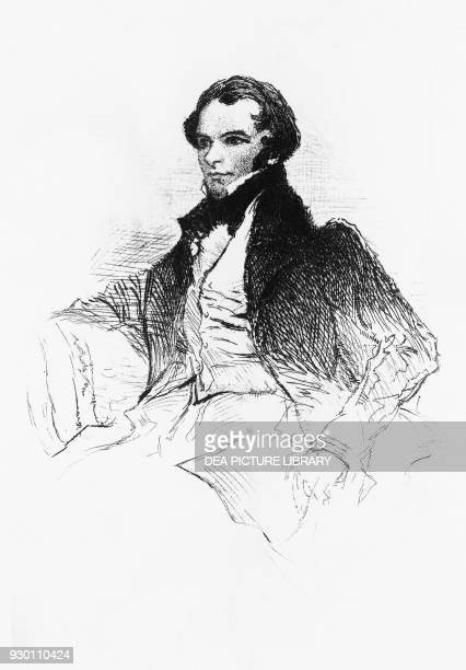 Portrait of Prosper Merimee French writer playwright historian and archaeologist engraving from Prosper Merimee Ses portraits ses dessins sa...