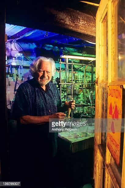 Portrait of psychopharmacologist Dr Alexander 'Sasha' Shulgin developer of the drug MDMA in his home laboratory in Lafayette California USA on 27th...