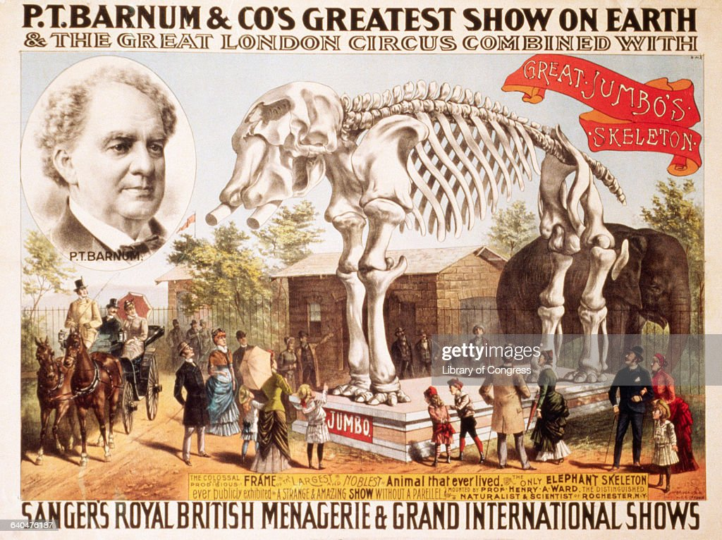 P t barnum co circus poster pictures getty images a portrait of pt barnum on a barnum and company circus poster which advertises an exhibit stopboris Image collections