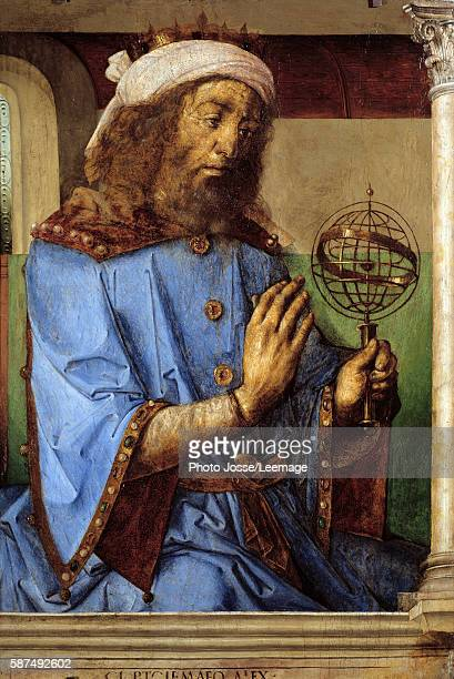 Portrait of Ptolemy Greek astronomer Painting by Pedro Berruguete and Juste De Gand Flemish School 15th century Oil on wood 098 x 066 m Louvre Museum...