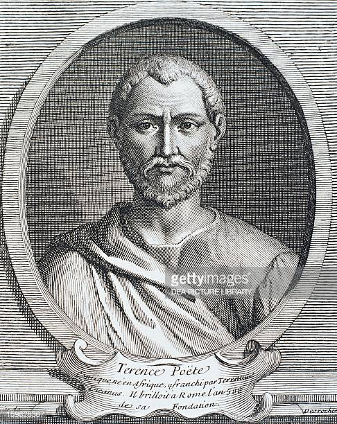 Portrait of Publius Terentius Afer playwright Engraving by Desvochers 1740