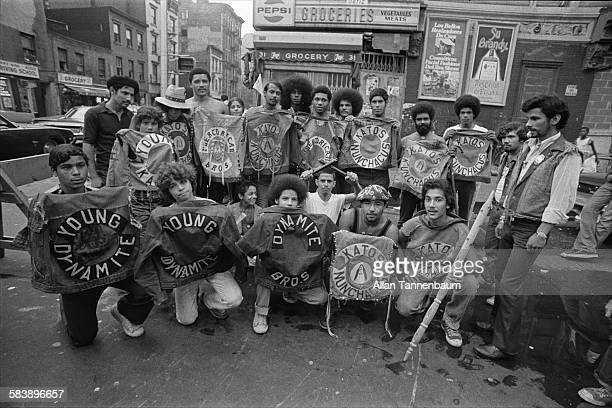 Portrait of Puerto Rican gang the Katos as they display their gang colors on a Lower East Side sidewalk New York New York September 9 1974