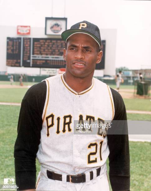 Portrait of Puerto Ricanborn baseball player Roberto Clemente in his Pittsburgh Pirates uniform 1960s