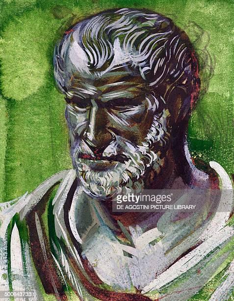 Portrait of Pythagoras Greek philosopher and mathematician illustration