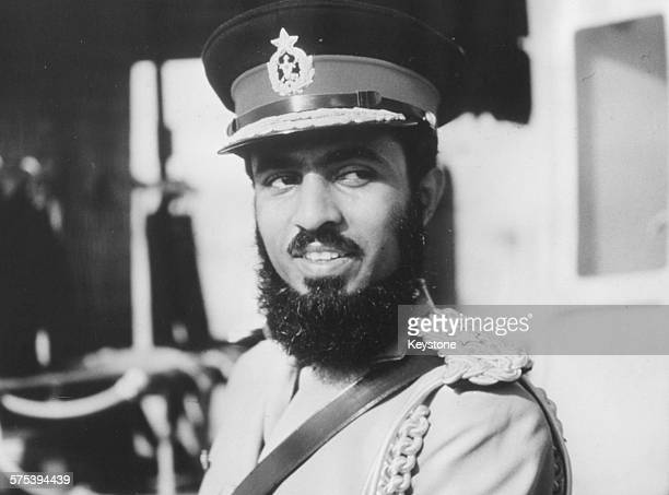 Portrait of Qaboos Bin Said Al Said, the Sultan of Muscat and Oman, in military uniform, circa 1970.