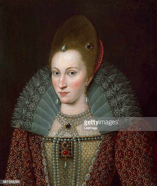 Portrait of Queen Anne of Denmark wife of James I of England painting of English School 66x55 cms Schloss Ambras Innsbruck Austria