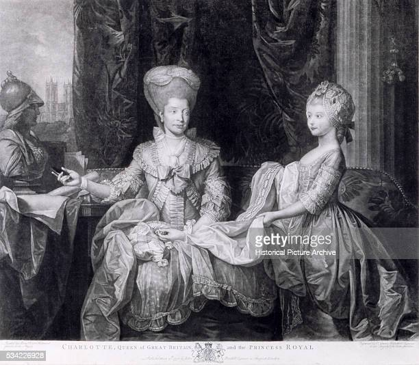 A portrait of Queen Charlotte wife of King George III of England and their daughter the Princess Royal engraved after a picture by Benjamin West...