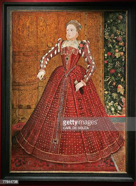 A portrait of Queen Elizabeth I painted by Steven Van Der Meulen between 1533 and 1603 is pictured 16 November 2007 at Sothebys auction house in...