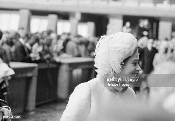 Portrait of Queen Elizabeth II at the Barbican site on the day of her silver wedding anniversary, during a visit to unveil the foundation stone for...