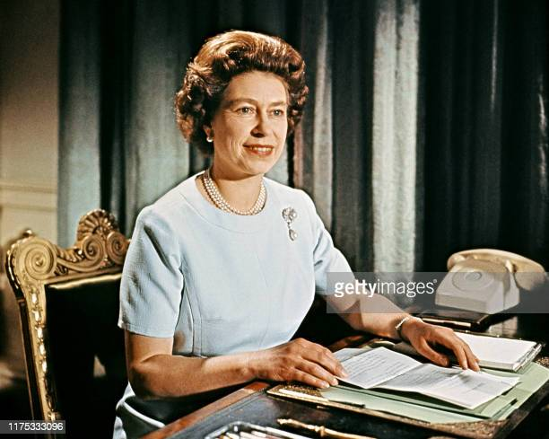 Portrait of Queen Elizabeth II taken at Buckingham Palace during the recording of her Christmas message to the Commonwealth which was shown on TV on...