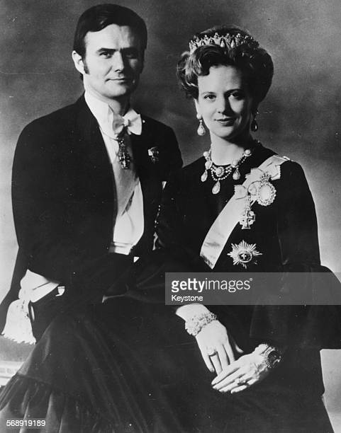 Portrait of Queen Margrethe of Denmark and her husband Prince Henrik March 16th 1972