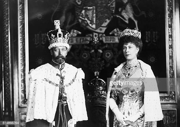 Portrait of Queen Mary of Teck and George V of England in full regalia Undated photograph