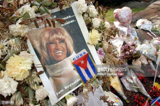 A portrait of Queen of Salsa Celia Cruz is seen at a makeshift memorial July 22 2003 in Fort Lee New Jersey The memorial has been in place since...