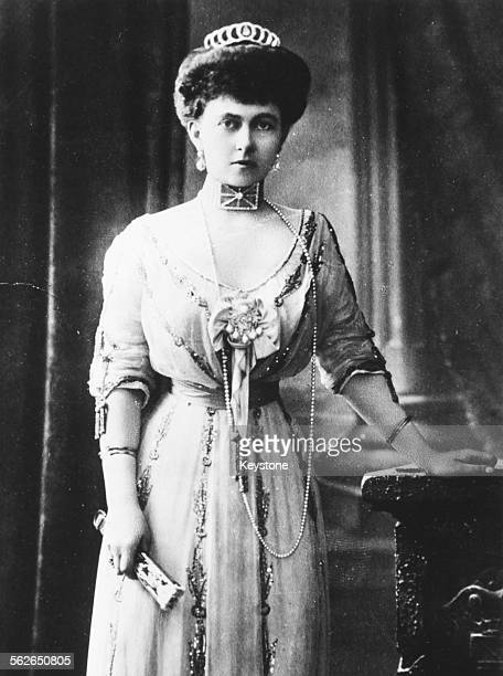 Portrait of Queen Sophia of Greece, wife of King Constantine and sister of Kaiser Wilhelm II, circa 1906.
