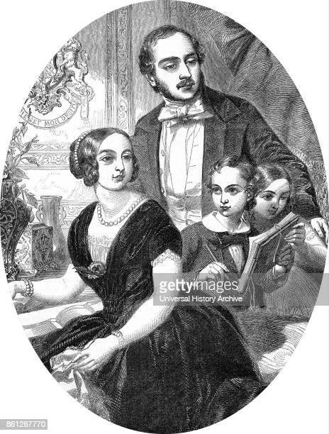 Portrait of Queen Victoria and Prince Albert with their two eldest children Victoria Princess Royal and Edward VII of the United Kingdom Dated 19th...