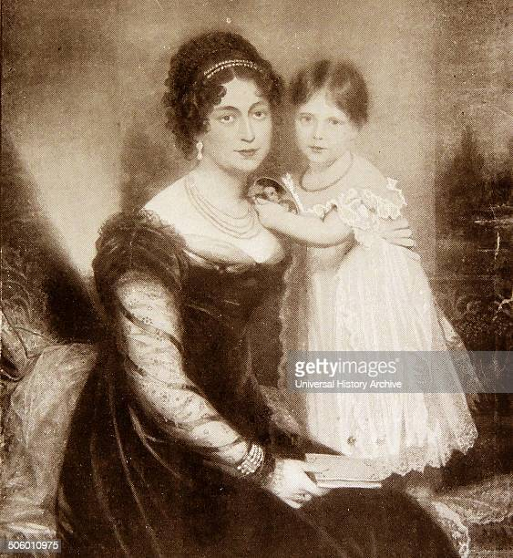 Portrait of Queen Victoria as a child with her mother princess Victoria