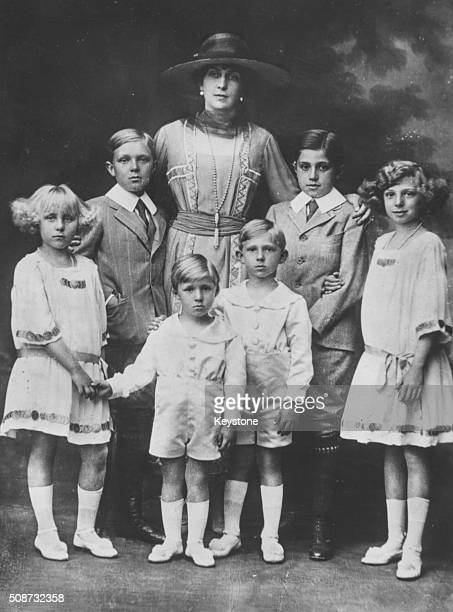 Portrait of Queen Victoria Eugenie of Spain with her children Princess Maria Christina Prince Alfonso Prince Gonzalo Prince Juan Prince Jamie and...
