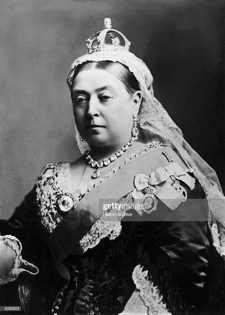 Portrait of Queen Victoria (1837-1901) in the fiftieth year of her reign. She wears her crown and a diamond necklace and earrings.