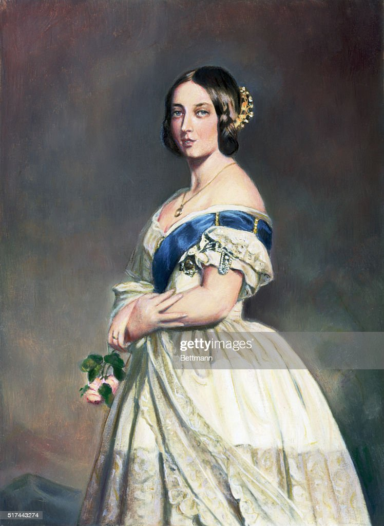 Portrait of Queen Victoria (1819-1901) painted by Winterhalter painted shortly after her ascension to the throne in 1837.