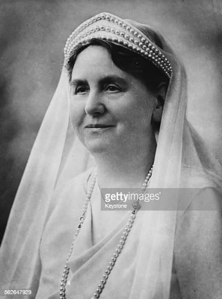 Portrait of Queen Wilhelmina of the Netherlands wearing a headdress 1934
