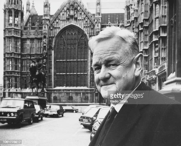 Portrait of Quintin Hogg Baron Hailsham outside the Houses of Parliament London May 9th 1974