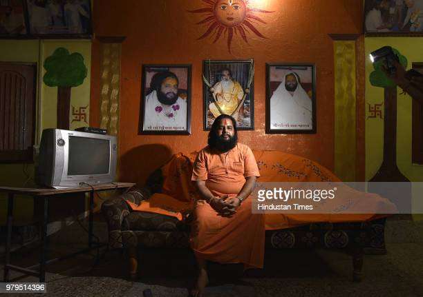 Portrait of Radhe Radhe Baba at his Ashram on June 5 2018 in Indore India Radhe Radhe Baba who moved here from UP and now heads a temple complex...