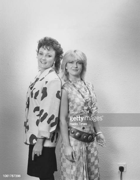 Portrait of radio broadcaster Janice Long and singer Toyah Wilcox August 1985